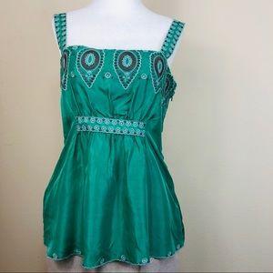 BCBG MaxAzria Green Silk Embroidered Camisole Top